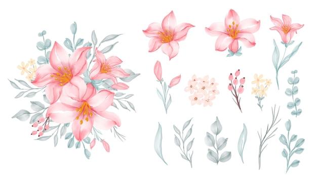 Lindo quadro floral com elegante flor rosa lírio Vetor grátis