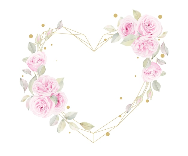 Lindo quadro floral com flores em aquarela de rosas
