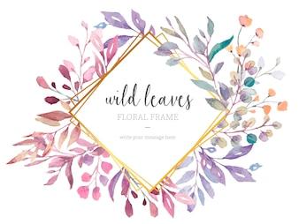 Lindo quadro Floral com folhas selvagens