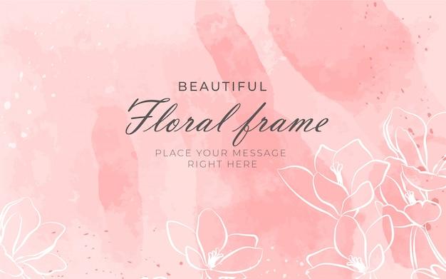 Lindo quadro floral com fundo aquarela