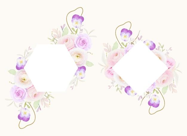 Lindo quadro floral com ranúnculo de rosas em aquarela e flor de amor perfeito