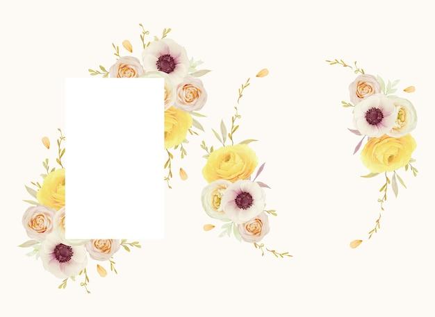 Lindo quadro floral com ranúnculo de rosas em aquarela e flores de anêmona