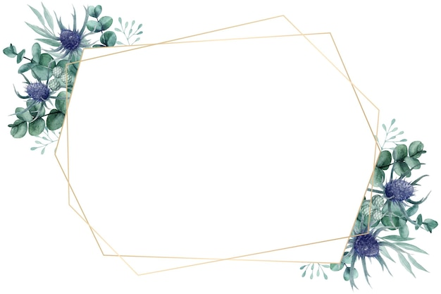 Lindo quadro floral em aquarela com folhas de cardo e eucalipto
