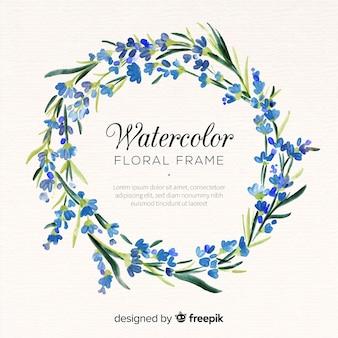Lindo quadro floral em design aquarela