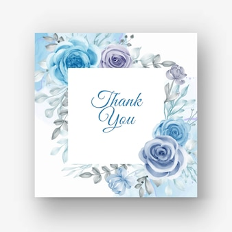 Lindo quadro floral para casamento com flor aquarela azul