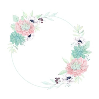 Lindo quadro suculento com flor de anêmona