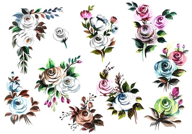 Lindo ramo de flores em aquarela