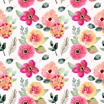 Lindo rosa floral aquarela sem costura padrão