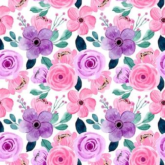 Lindo rosa roxo aquarela floral sem costura padrão