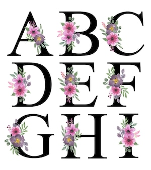 Lindo rosa roxo florais aquarela alfabeto design a - i editável