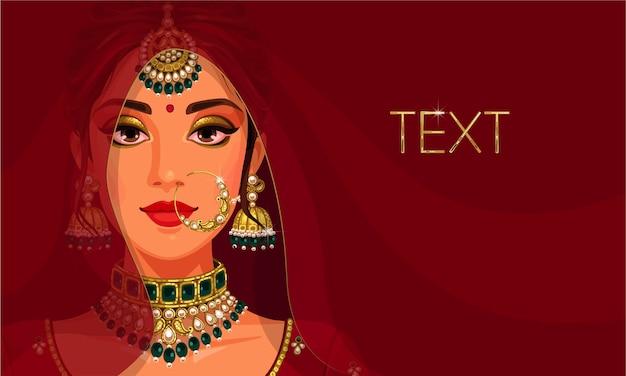 Lindo rosto de noiva indiana com espaço de cópia