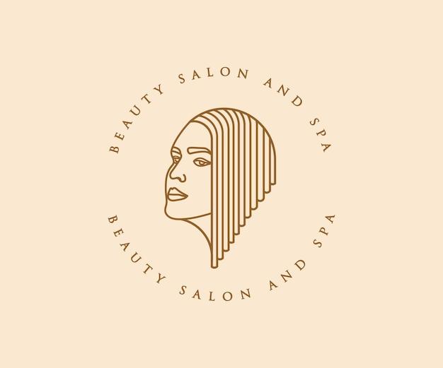 Lindo rosto feminino feminino e logotipo de cabelo para marca de cuidados com a pele do spa do salão de beleza
