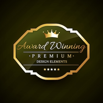 Lindo selo de ouro premiado Vetor Premium