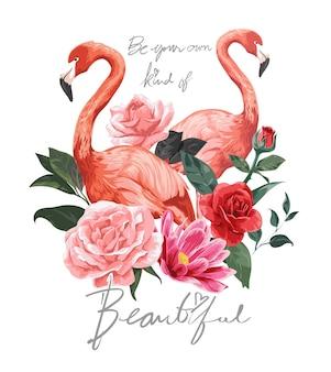 Lindo slogan com ilustração de flamingos e flores
