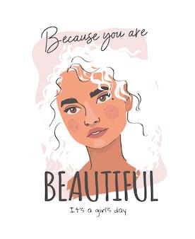 Lindo slogan com ilustração de menina de cabelos ondulados dos desenhos animados