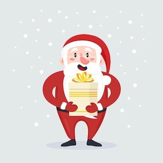 Lindo sorridente papai noel em pé com uma caixa de presente com presentes na mão. feliz natal e feliz ano novo. cartão de natal