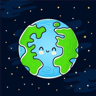 Lindo sorriso feliz e engraçado. planeta terra no espaço