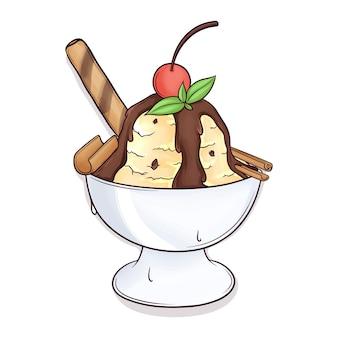 Lindo sundae de sorvete desenhado à mão
