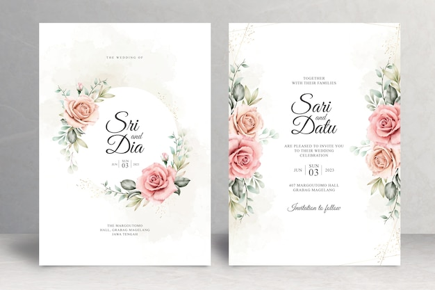 Lindo tema floral de cartão de casamento