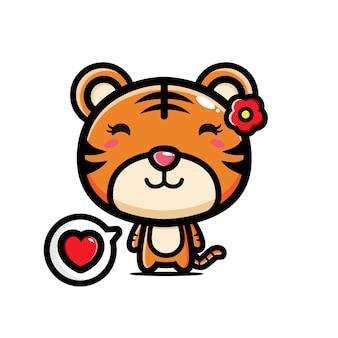 Lindo tigre fofo com acessórios de flores