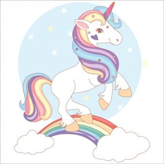Lindo unicórnio mágico e arco-íris