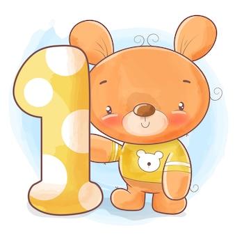Lindo urso de pelúcia para aniversário