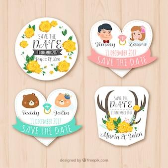 Lindo variedade de etiquetas de casamento