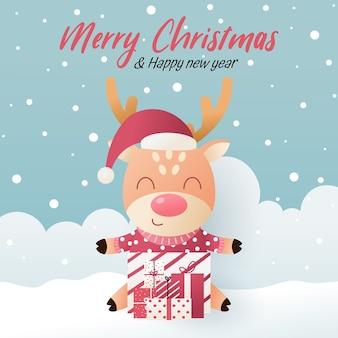 Lindo veado com chapéu de papai noel e caixa de presente. ilustração de feliz ano novo e feliz natal