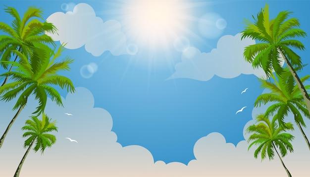 Lindo verão em praia tropical com coqueiros e nuvens