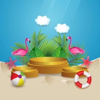 Lindo verão em uma praia tropical com fundo de pódio, flamingo, folhas de palmeira e nuvens