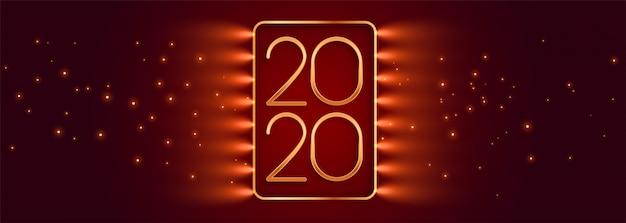 Lindo vermelho brilhante feliz ano novo banner