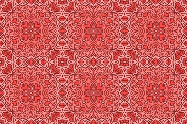 Lindo vermelho sem costura padrão para dia dos namorados com formas de coração