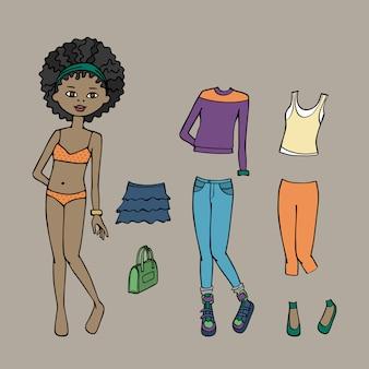 Lindo vestido de boneca de papel. modelo de corpo, roupas e acessórios