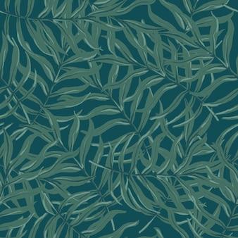Lindo vetor sem costura padrão tropical com folhas de palmeira