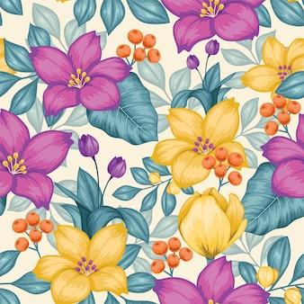 Lindo vintage floral sem costura padrão