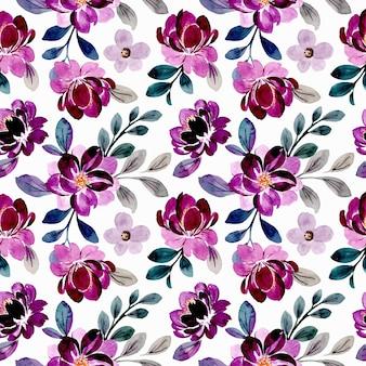 Lindo violeta floral aquarela sem costura padrão