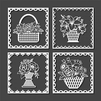 Lindos arquivos de corte floral na cesta de vime