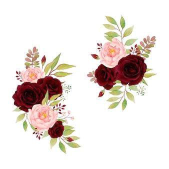 Lindos arranjos florais com rosa vermelha e peônia