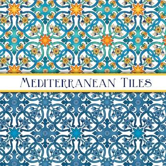 Lindos azulejos tradicionais mediterrâneos pintados