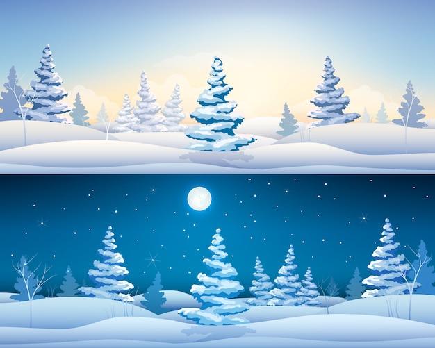 Lindos banners horizontais de inverno com pinheiros nevados de paisagens fadas durante o dia e a noite