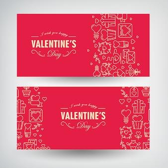 Lindos banners horizontais românticos com inscrições de saudação e festivos alinhados