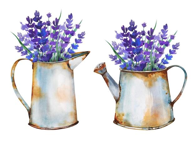 Lindos buquês de ervas em velhos vasos de metal enferrujado no jardim