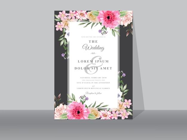 Lindos cartões de convite de casamento floral