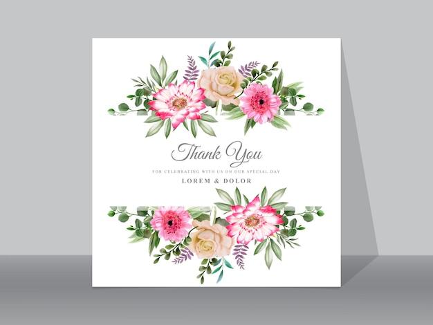 Lindos cartões de convite de casamento floral Vetor Premium