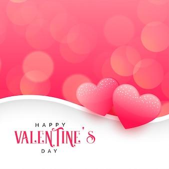 Lindos corações em fundo rosa bokeh