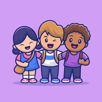 Lindos filhos com pele diferente dos desenhos animados icon ilustração. pessoas e educação ícone conceito isolado. estilo cartoon plana