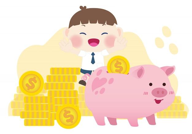 Lindos filhos felizes economizando dinheiro