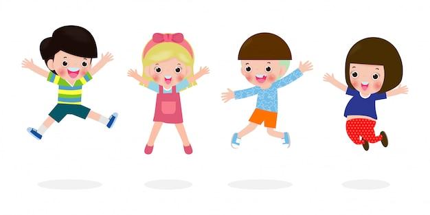 Lindos filhos felizes pulando junto com o amigo, conjunto de crianças brincando isolado na ilustração de fundo branco