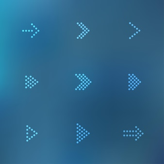 Lindos ícones de seta digital pontilhada em fundo de malha desfocada