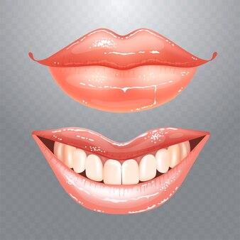 Lindos lábios nus femininos brilhantes com dentes